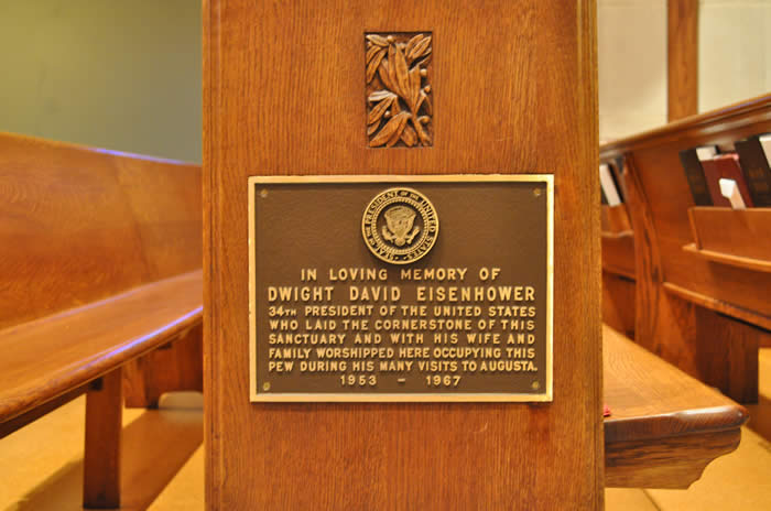 Reid Memeorial Presbyterian Church, Augusta Ga Dwight David Eisenhower pew