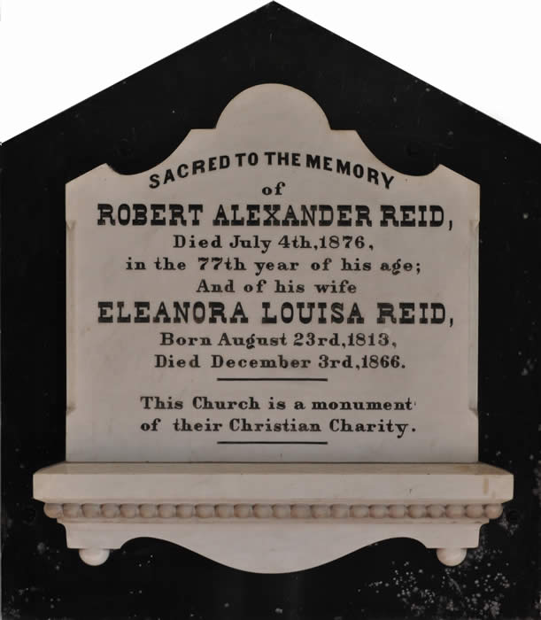 Robert Alexander Reid memorial plaque